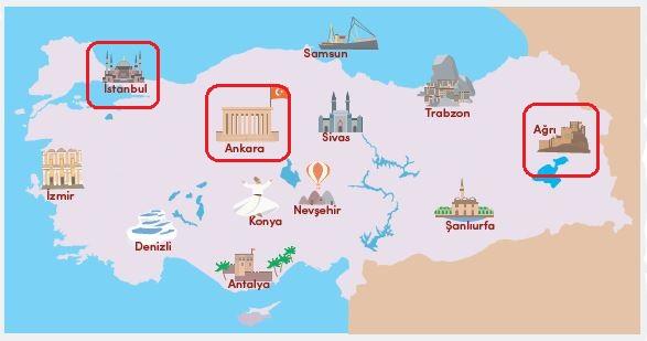 Haritada ülkemizin tarihî ve turistik yerleri