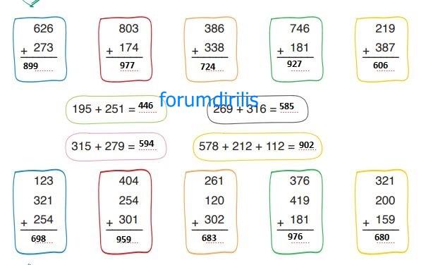 3. Sınıf Matematik Ders Kitabı 50. Sayfa Cevapları ADA Yayınları