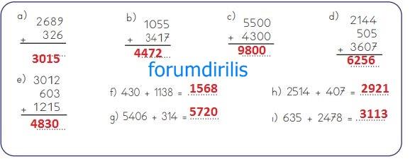 4. Sınıf Matematik Ders Kitabı 41. Sayfa Cevapları MEB Yayınları
