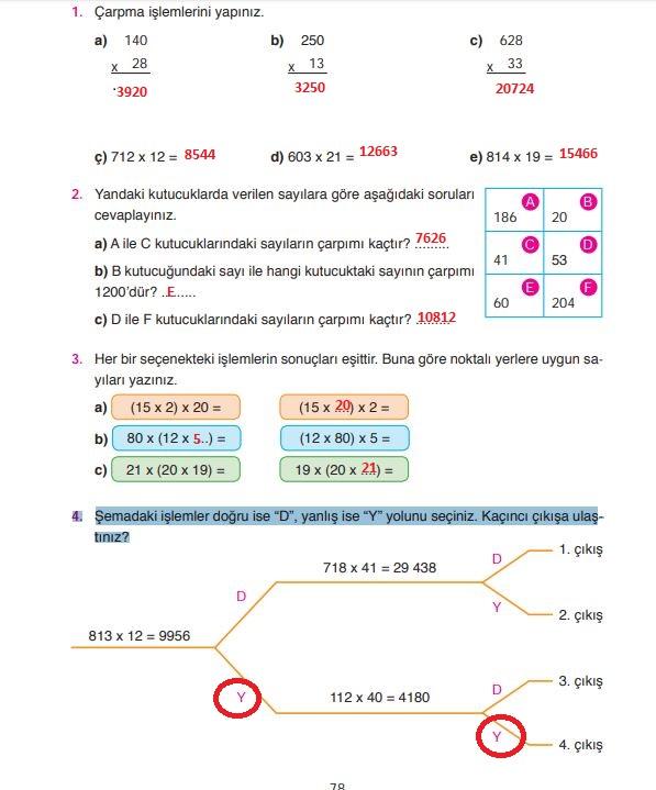 4. Sınıf Ata Yayınları Matematik 78. Sayfa Cevapları