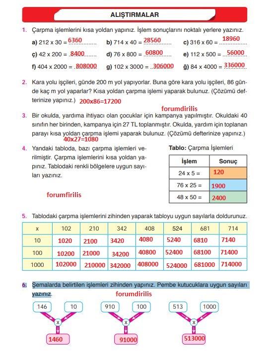 4. Sınıf Ata Yayınları Matematik 83. Sayfa Cevapları