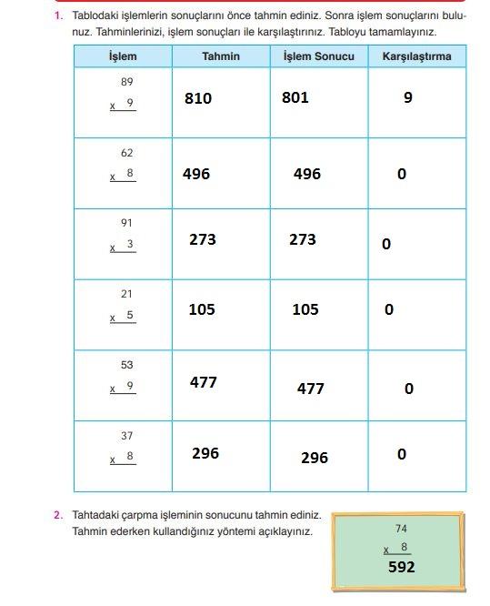 4. Sınıf Ata Yayınları Matematik 86. Sayfa Cevapları