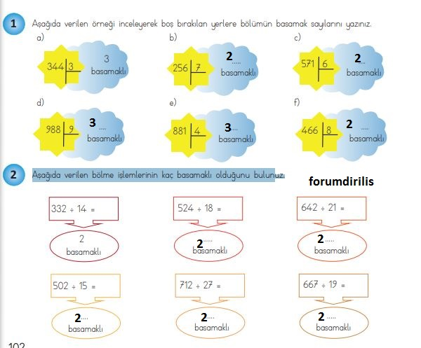 4. Sınıf Matematik Ders Kitabı 102. Sayfa Cevapları MEB Yayınları
