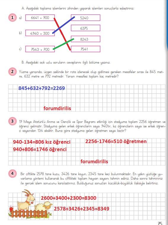 4. Sınıf Matematik Ders Kitabı 75. Sayfa Cevapları MEB Yayınları