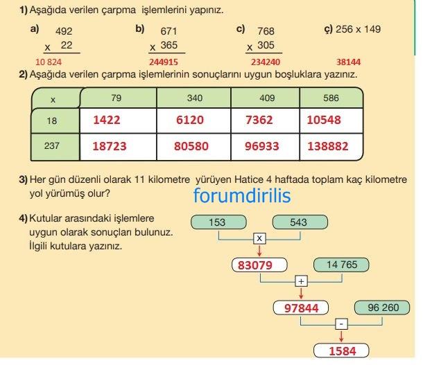 5. Sınıf Matematik Ders Kitabı 56. Sayfa Cevapları