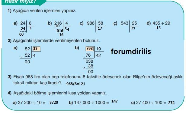5. Sınıf Matematik Ders Kitabı 58. Sayfa Cevapları