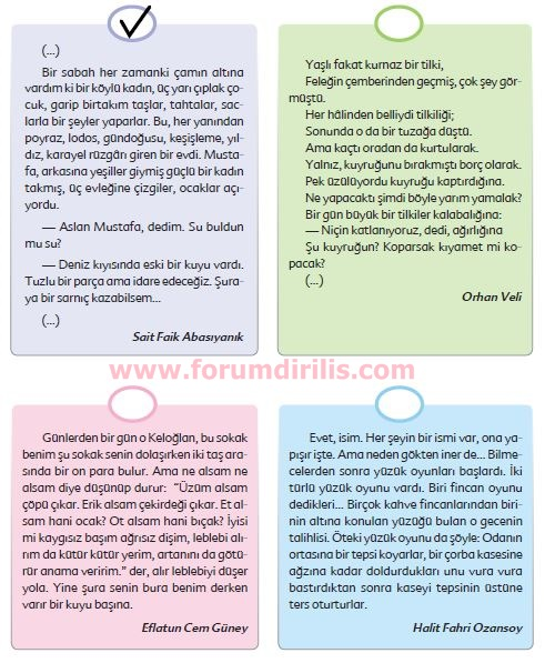 6. Sınıf Türkçe Ders Kitabı Ekoyay Yayınları 88. Sayfa Cevapları