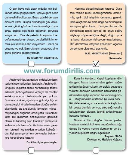 7. Sınıf Türkçe Ders Kitabı Özgün Yayınları 91. Sayfa Cevapları