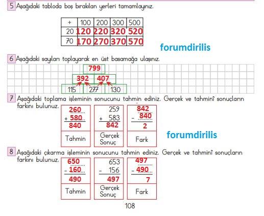 3. Sınıf Matematik Ders Kitabı 108. Sayfa Cevapları MEB