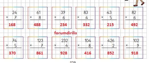 3. Sınıf Matematik Ders Kitabı 129. Sayfa Cevapları MEB