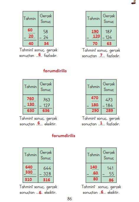 3. Sınıf Matematik Ders Kitabı 86. Sayfa Cevapları MEB