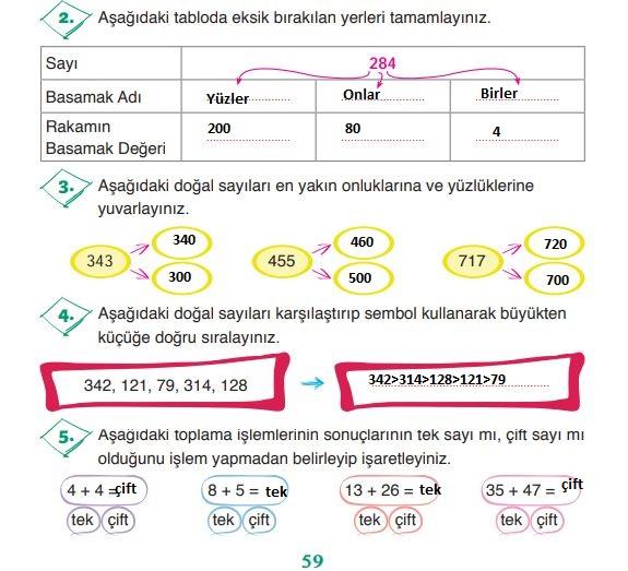 3. Sınıf Matematik Ders Kitabı 59. Sayfa Cevapları ADA Yayınları
