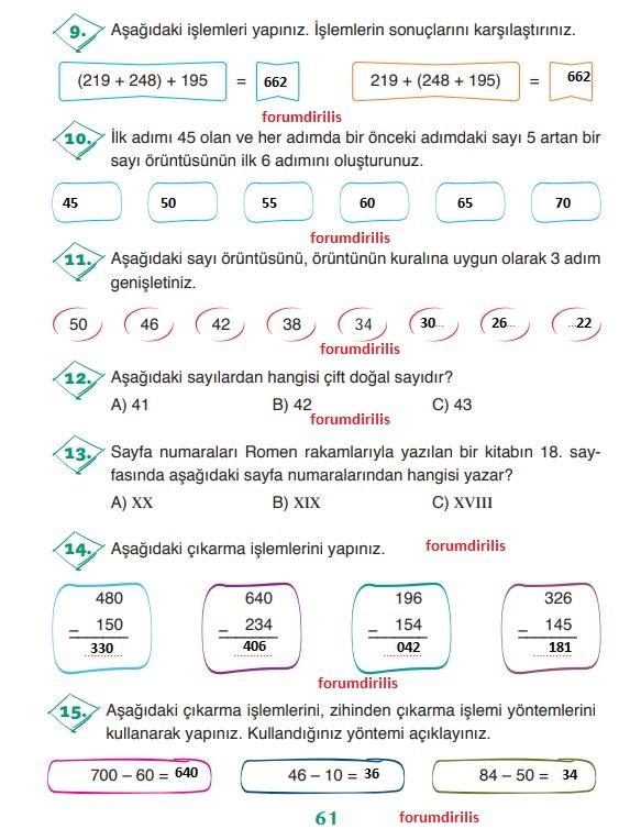 3. Sınıf Matematik Ders Kitabı 61. Sayfa Cevapları ADA Yayınları