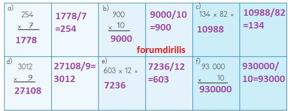 4. Sınıf Matematik Ders Kitabı 124. Sayfa Cevapları MEB Yayınları