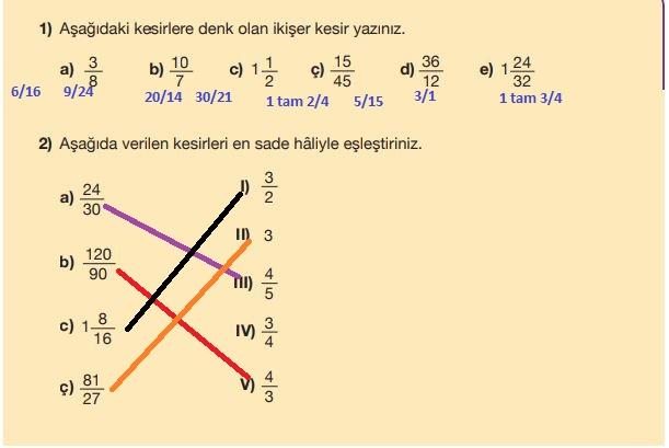 5. Sınıf Matematik Ders Kitabı 105. Sayfa Cevapları MEB