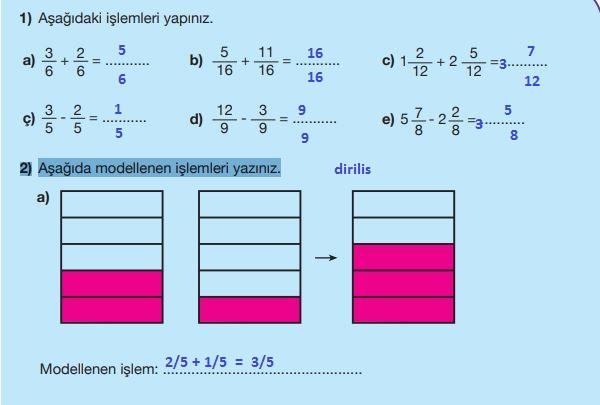 5. Sınıf Matematik Ders Kitabı 111. Sayfa Cevapları MEB