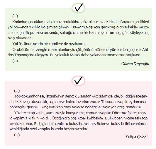6. Sınıf Türkçe Ders Kitabı Ekoyay Yayınları 263. Sayfa