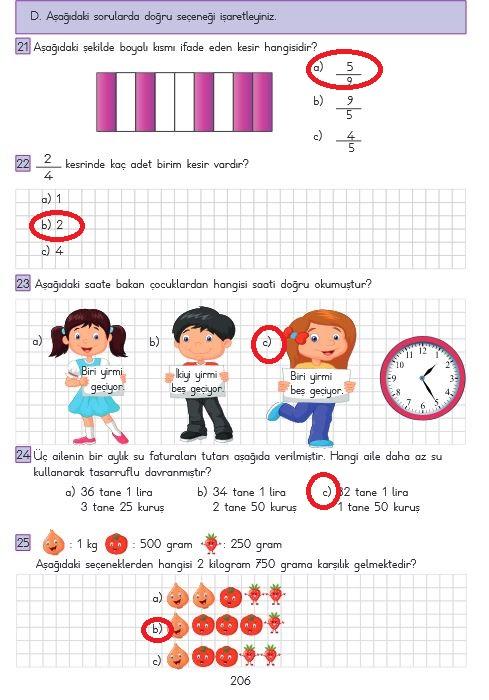 206. sayfa matematik cevapları