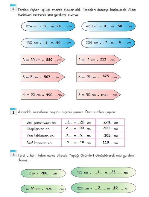 3.sınıf matematik 250.sayfa cevapları