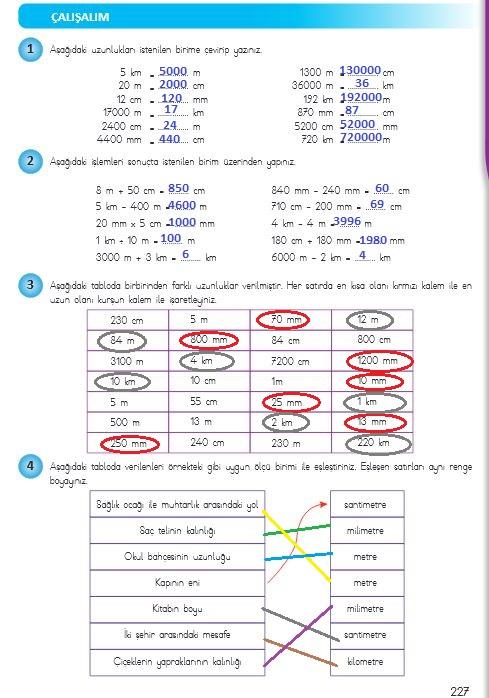4.sınıf matematik 227.sayfa cevapları meb yayınları