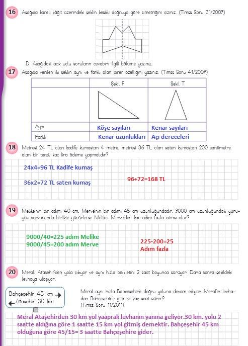4.sınıf matematik 234.sayfa cevapları meb yayınları