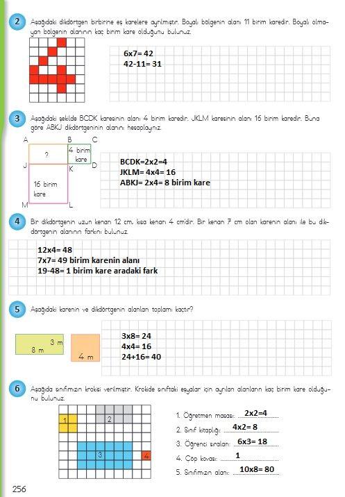 4.sınıf matematik 256.ayfa cevapları meb yayınları