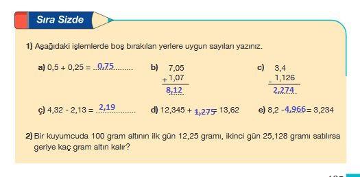 5.sınıf matematik 165.sayfa cevabı meb yayınları