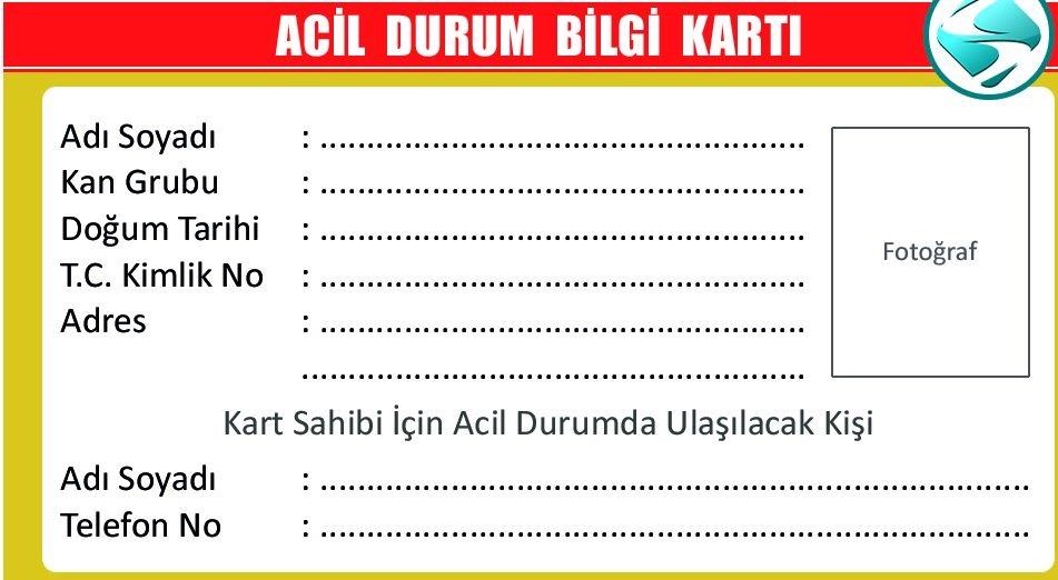 3.sınıf hayat bilgisi acil durum bilgi kartı