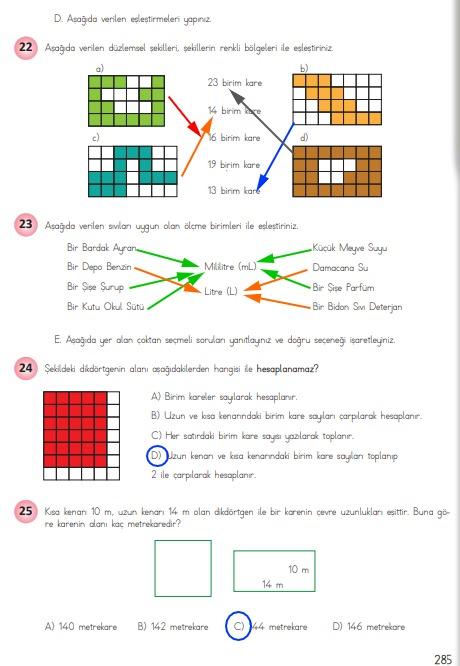 4.sınıf matematik 285.sayfa cevapları meb yayınları