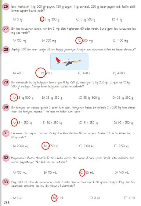 4.sınıf matematik 286.sayfa cevapları meb yayınları