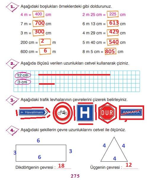3.sınıf ada yayınları matematik 275.sayfa cevapları